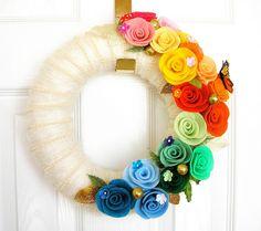 Rainbow Wedding Felt Yarn Wreath