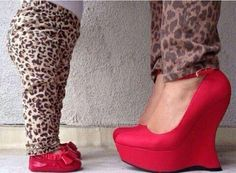Matching with my daughter.  Cheetah Print and Red Shoes