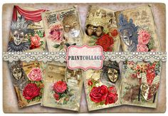 Carnival Mask Digital Collage Sheet Printable Designed Gift Tags and Cards for Scrapbooking Printable Paper for Jewelry Holders Tags Card Tags, Gift Tags, Scrapbook Paper Crafts, Scrapbooking, Carnival Masks, Arts And Crafts Projects, Printable Paper, Digital Collage, Collage Sheet