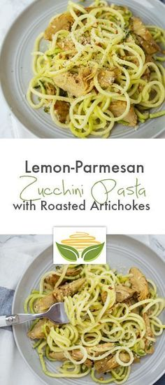 Lemon Zucchini Pasta with Roasted Artichokes