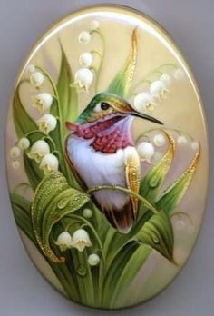 Hummingbird Painted Rock - Plus other painted rocks on site. Stone Crafts, Rock Crafts, China Painting, Tole Painting, Art Rupestre, Decoupage, Art Pierre, Rock Painting Designs, Hand Painted Rocks