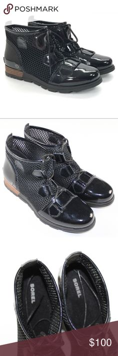 New Sorel Major Lace Up Mesh Boots Black Size 10 Sorel Major Lace Up Mesh Boots  Excellent boots  New without box  Black  Patent leather  The size is 10  Check out my other items for sale SOREL Shoes Ankle Boots & Booties