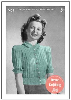 ON SALE 1940's Pretty Blouse Vintage Knitting Pattern