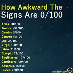 how awkward the zodiac signs are? aries, taurus, gemini, cancer, leo, virgo, libra, scorpio, sagittarius, capricorn, aquarius, pisces