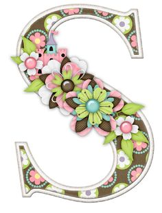 S Alphabet In Flowers CAD * Alphabets/Doodle Words