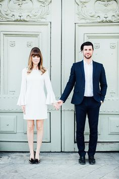 How He Asked - Margo & Me // Bride-to-be and blogger Jenny Bernheim shares her proposal pictures from Paris posing in a white ELLIATT dress