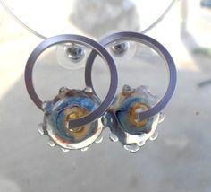 Lampwork Earrings Glass Hoop Earrings Glass Beaded by CandanImrak