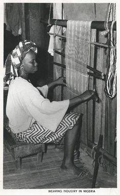 A Yoruba woman handling a hand loom, 1960s Nigeria