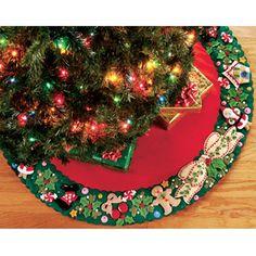 Bucilla Felt Tree Skirt Kit - Mary Engelbreit - Wreath Applique  $42.39 #maryengelbreit