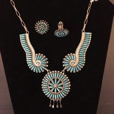 Vintage turquoise set Zuni Needlepoint design. Perfect condition. Flawless turquoise. Signed by C J., no silver mark. Purchased 1974. Includes matching clip-on earring and ring. In perfect condition. Vintage and rare. I am open to offers. Jewelry Necklaces