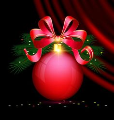 Red christmas ball with ribbon bow and black background vector - https://www.welovesolo.com/red-christmas-ball-with-ribbon-bow-and-black-background-vector/?utm_source=PN&utm_medium=welovesolo59%40gmail.com&utm_campaign=SNAP%2Bfrom%2BWeLoveSoLo