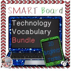 """Technology Vocabulary Flash Cards using SMART Notebook- Bundle of Lists 1 and 2. Perfect for your beginning readers or ELL students with visual graphics and text. I recommend using these as a """"word of the week"""" with your students and work on each word until the students master it. The activity is easy to use. Set it up as a center after your students have learned all 20 words and they can go through it independently.$"""