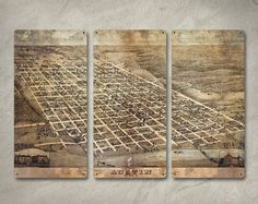 "Austin Texas 1873 Map METAL Triptych - Large 34"" x 23"" - FREE SHIPPING on Etsy, $139.00"