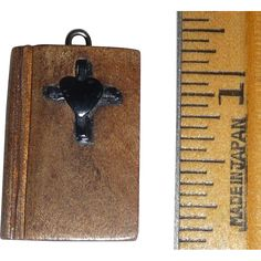 Wood Wooden Bible Charm Pendant with Bakelite Cross & Heart from cribtoys-closet on Ruby Lane