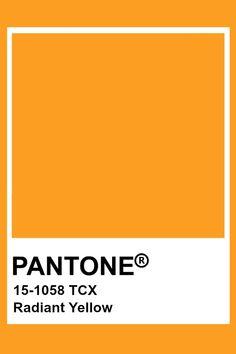 Pantone Radiant Yellow Pantone Tcx, Pantone Swatches, Color Swatches, Colour Pallete, Colour Schemes, Color Trends, Color Combinations, Pantone Orange, Pantone Color