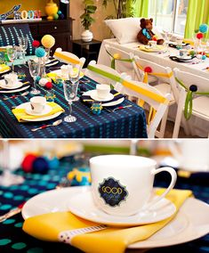loving the simple yet colorful table and chair decorations...this shower theme would be so cute for a boy.