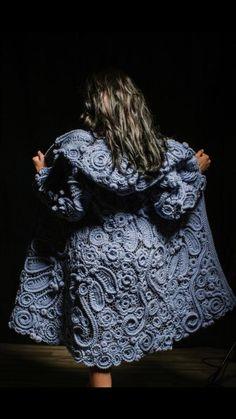 Crochet Coat, Crochet Jacket, Knitted Coat, Crochet Cardigan, Crochet Clothes, Knit Dress, Knit Lace, Freeform Crochet, Irish Crochet