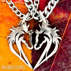 Horse necklace, couples heart jewelry, equestrian set, hand cut half d – NameCoins
