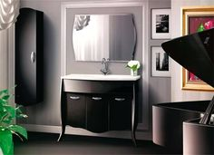 meuble vasque noir ancien - Recherche Google Bathroom Lighting, Vanity, Mirror, Furniture, Recherche Google, Home Decor, Bathroom Yellow, Chic Bathrooms, Bathroom Modern