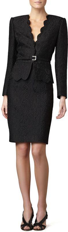 Albert Nipon Scalloped Animal Jacquard Suit on shopstyle.com