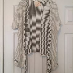 Striped Cotton Kimono Cover Up Light sweatshirt material cotton stripes kimono. Daftbird Sweaters