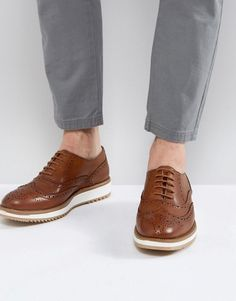 eca9090cd969 ASOS Brogue Shoes In Tan Leather With Wedge Sole - Tan Brown Brogues