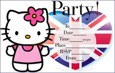 HELLO KITTY  free printable party invite.