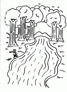 FUN - printable coloring page - river with trees, clouds, sun ...