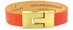 Natural Luxe - Thin Jigsaw Bracelet, Orange Stingray