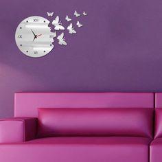 Horloge murale silencieuse Design Papillon Mordern style DIY Pour Home Decor