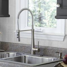 Giagni Fresco Stainless Steel Deck Mount Pre Rinse Kitchen Faucet At Lowe S A True Commercial Style With The High Arc Open Coil Spout Is