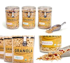 Jar Packaging - can then be reused either with granola in packet by the same brand or for other useful things for the customer i. Cereal Packaging, Popcorn Packaging, Glass Packaging, Bakery Packaging, Packaging Design, Organic Cereal, Kids Cereal, Best Granola, Granola Cereal