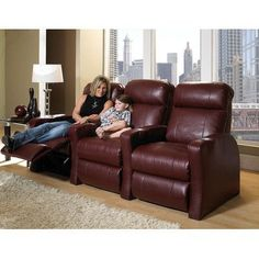 Row One Sky Line Home Theater Recline (Row of 3) Upholstery - Color: Top Grain Leather / Vinyl Match - Savannah Wine