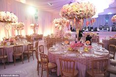 Stunning: The venue was decorated in a fairytale theme by wedding planner Preston Bailey
