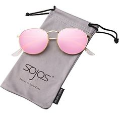 03a943d9e8d Amazon.com  SojoS Small Round Polarized Sunglasses Mirrored Lens Unisex  Glasses SJ1014 With Silver Frame Silver Mirrored Lens  Clothing
