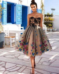 Embellishment short tulle Pretty dress #promdress #shortdress