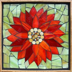 Student Work from a Kasia Mosaics Stained Glass Mosaic Flower Workshop - Water Lily by Patti. Sign up for a class near you via www.kasiamosaics.com
