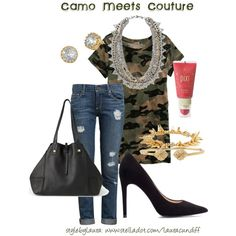 """""""Camo meets Couture"""" by stylebylaura on Polyvore"""