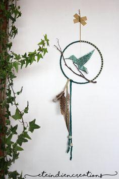 Petit mobile Kwatoko  oiseau colibri origami par eteindiencreations