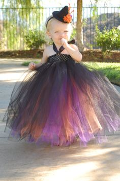 Toddler Girls Witch Costume With Embellished Witch Hat Accessory Black Orange and Purple.