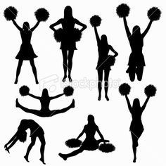 Cheerleading silhouette collection (vector) Royalty Free Stock Vector Art Illustration