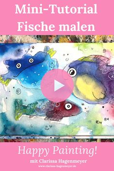 Fische malen in Aquarell: Folge mir durch dieses Mini Tutorial und lasse aus einfachsten Formen außergewöhnliche und fröhliche Fische entstehen. Es ist ganz einfach!