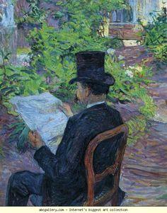 Henri de Toulouse-Lautrec. Désiré Dihau (Reading a Newspaper in the Garden). 1890. Oil on cardboard. 56 x 45 cm. Musée Toulouse-Lautrec, Albi, France