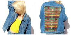 Customized Vintage Denim Jacketh! with Spikes and ethnic pattern on the back!