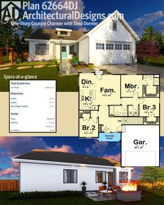 Architectural Designs House Plan 62664DJ is a one-story country charmer with over 1,200 square feet of heated living space. Ready when you are. Where do YOU want to build?
