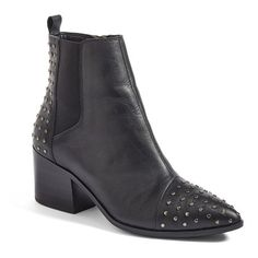 Women's Treasure&bond Harlan Studded Chelsea Boot ($120) ❤ liked on Polyvore featuring shoes, boots, black leather, chelsea boots, chelsea bootie, beatle boots, pointed-toe chelsea boots and studded boots