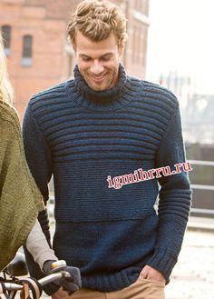 Мужской темно-синий свитер с поперечными грядочками. Вязание спицами для мужчин