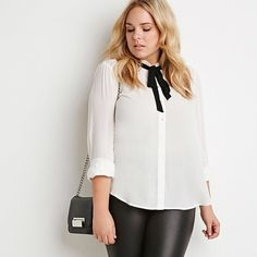 Self Tie Button Up Blouse Sheer button up blouse. Never worn. Brand new with tags! Forever 21 Tops Button Down Shirts