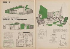 'House of tomorrow', design by John P Ley from Australian House and Garden book of budget home plans, Sydney, 1957.