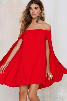 Cape Off-The-Shoulder Dress ==